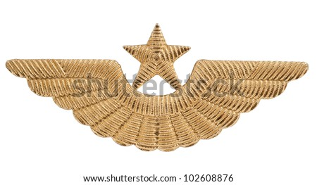 Cockarde of the officer of the Air Forces on a white background - stock photo