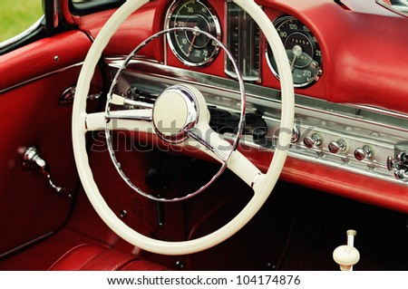 Cockpit detail of an old german sports car - stock photo