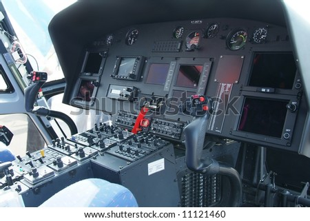 Cockpit instrument of helicopter with electronic instrumentation - stock photo