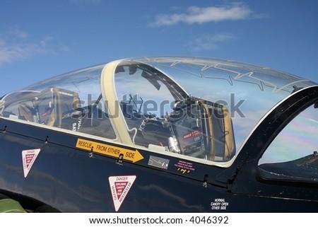 Cockpit of a Hawk jet plane - stock photo