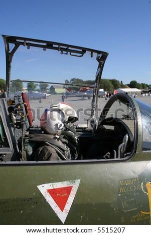 Cockpit of a jet fighter - stock photo