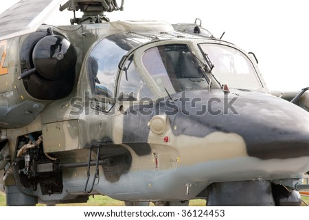 Cockpit Of A Military Helicopter.  International Aviation and Space salon MAKS - stock photo