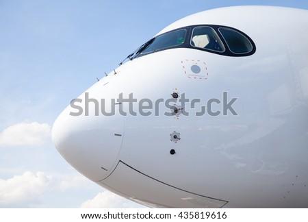 cockpit of an aircraft - stock photo