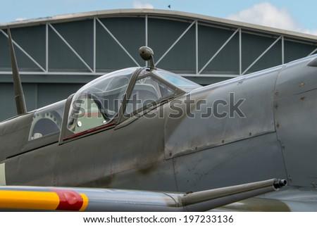 Cockpit of British World War 2 Spitfire fighter. - stock photo