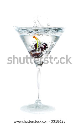 cocktail. Cherry Splashing into martini