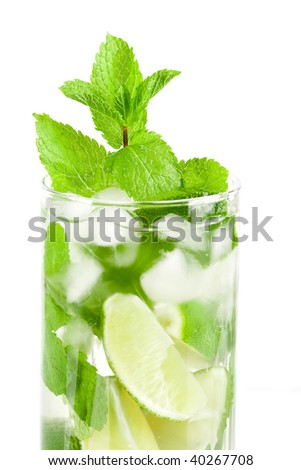 Cocktail collection: Fresh mojito isolated on white background. Ingredients: white rum, lime, mint, sugar and water