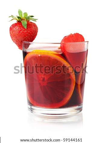 Cocktail collection - Refreshing fruit sangria with strawberry and orange. Isolated on white - stock photo
