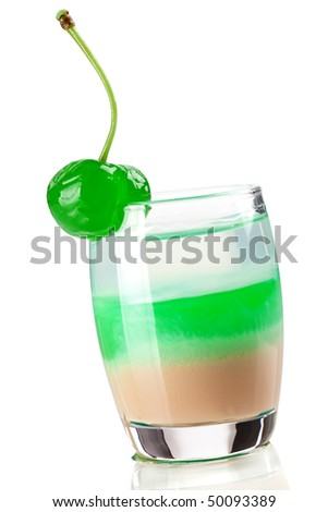 Cocktail collection: Three layered shot with green maraschino. Isolated on white background - stock photo