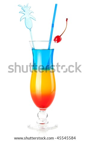 Cocktail collection - Three layered tropical cocktail with pineapple decoration. Isolated on white background - stock photo
