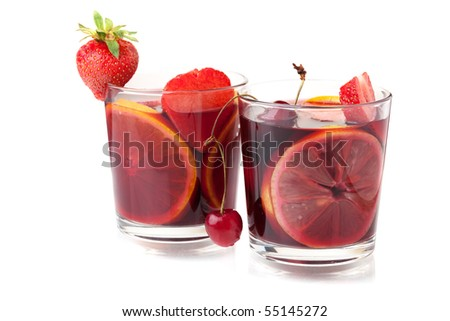 Cocktail collection - Two glasses of fresh fruit sangria. Isolated on white - stock photo