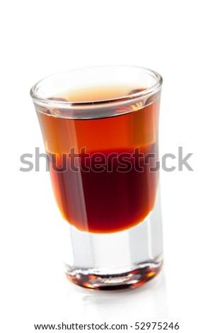 Cocktail collection: Two layered shot. Isolated on white background - stock photo