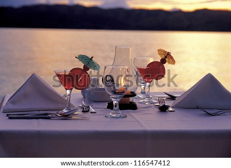 Cocktail dinner in the sunset