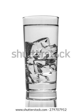 Cocktail glass of water with ice cubes isolated on white background. - stock photo