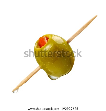 Cocktail green olive - stock photo