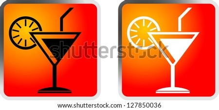 Cocktail icon. Vector. - stock photo