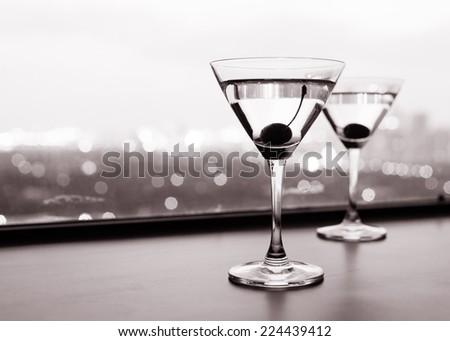 Cocktail in martini glasses - stock photo
