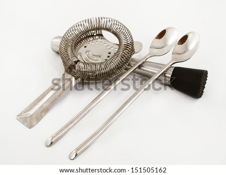 Cocktail instruments closeup silver color special to party - stock photo