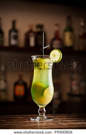 Cocktail lime on bar table
