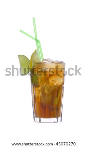 Cocktail Long Island Iced Tea on white ground