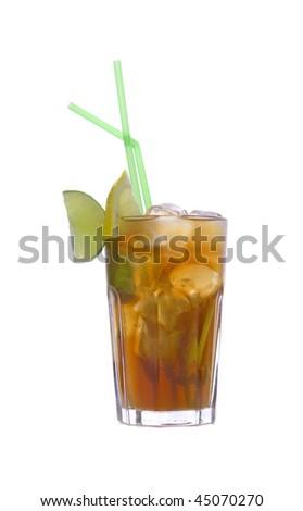Cocktail Long Island Iced Tea on white ground - stock photo