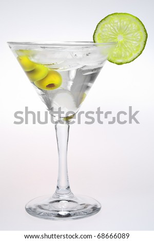 cocktail martini with olives on a white background