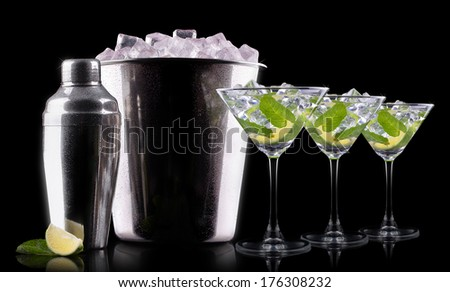 Cocktail mojito on a black party background - stock photo