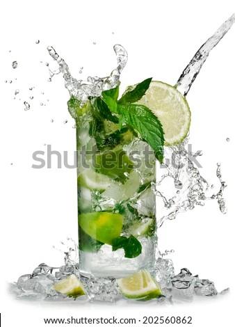 Cocktail mojito splash - stock photo