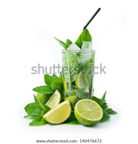 Cocktail mojito with mint leaves and lime isolated on white background - stock photo