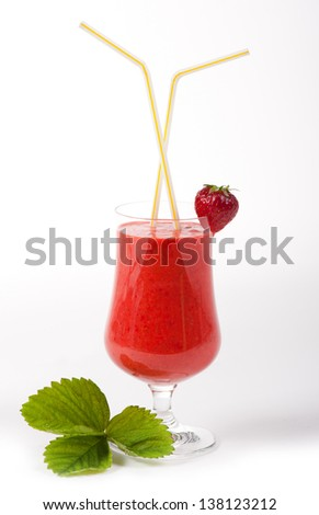 Cocktail of fresh blended strawberries in glass and two straws in it, green leaf and one fruit on white background. Fresh red strawberries drink in vertical orientation, nobody in frame, studio shot. - stock photo