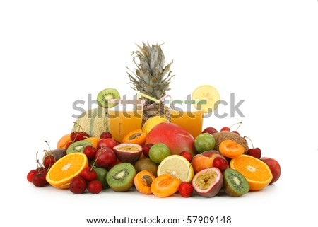cocktail of fruit with tropical fruit - stock photo