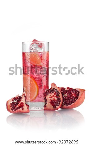 Cocktail of pomegranate and lemon in cold frosty glass - stock photo