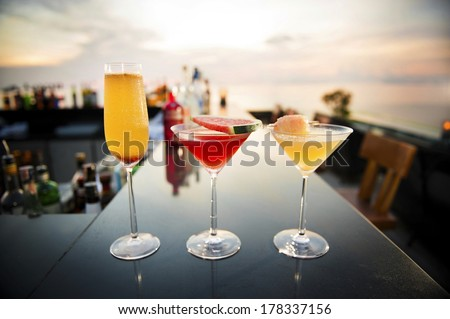 Cocktail on bar couter - stock photo