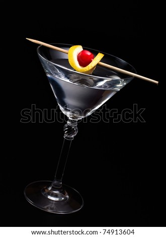 Cocktail on black - stock photo