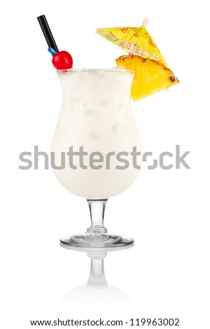 Cocktail pina colada in front of white background - stock photo