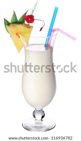 Cocktail pina colada on a white background.