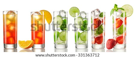 Cocktail set isolated on white - stock photo