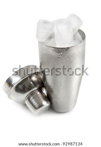 Cocktail shaker with ice isolated on white background - stock photo