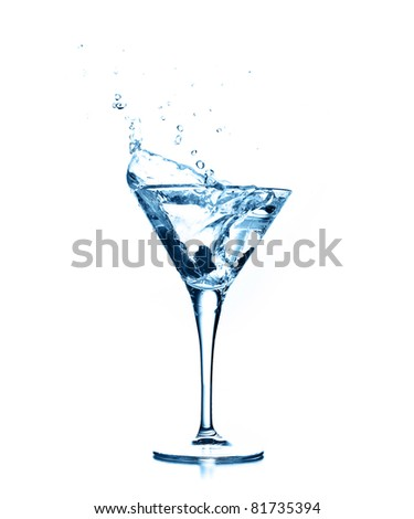 cocktail splash on white background