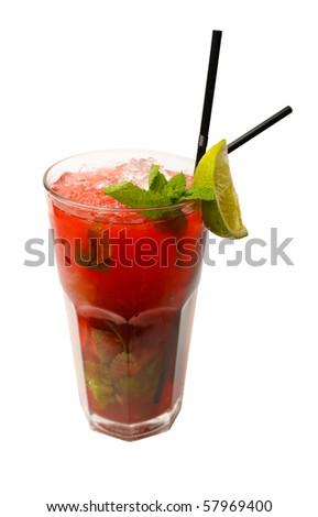 Cocktail strawberry mojito - stock photo