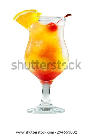 cocktail tequila sunrise in front of white background - stock photo