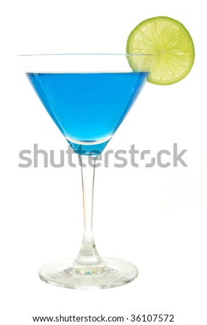 cocktail with blue curacao isolated on white background - stock photo