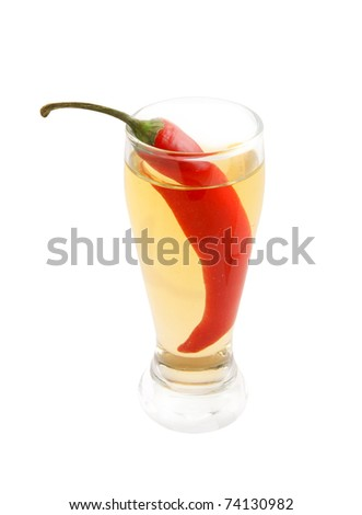 Cocktail with chilli pepper isolated