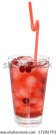 Cocktail with cranberry juice and ice cubes on white background.
