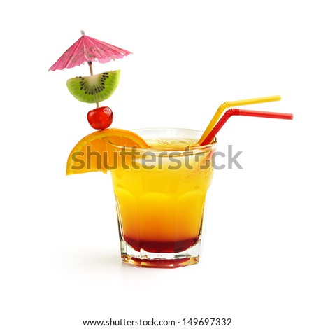 cocktail with fruit decoration and straws isolated on white background - stock photo