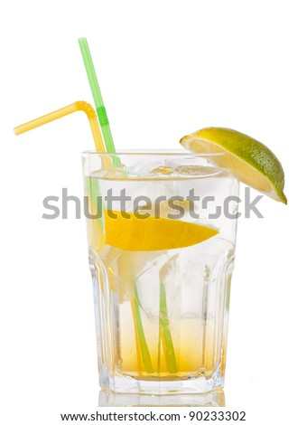cocktail with gin and orange with ice on white background - stock photo
