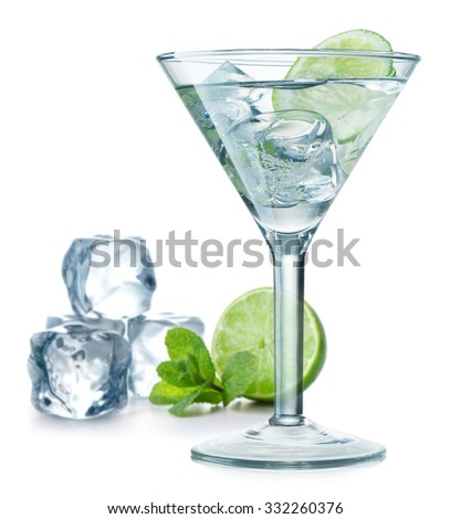 Cocktail with green lime, mint leaves and ice cubes on white