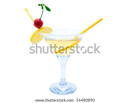 cocktail with lemon and cherry over white background - stock photo