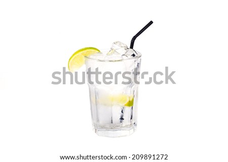 cocktail with lemon and ice on a white background water, soda, transparent
