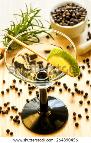 Cocktail with lemon slice - stock photo