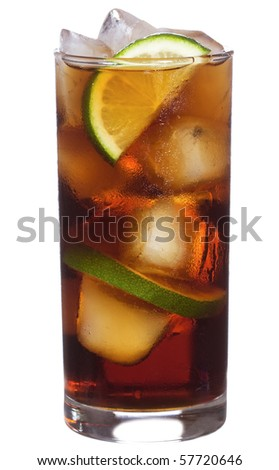 cocktail with lime and cola on white background - stock photo